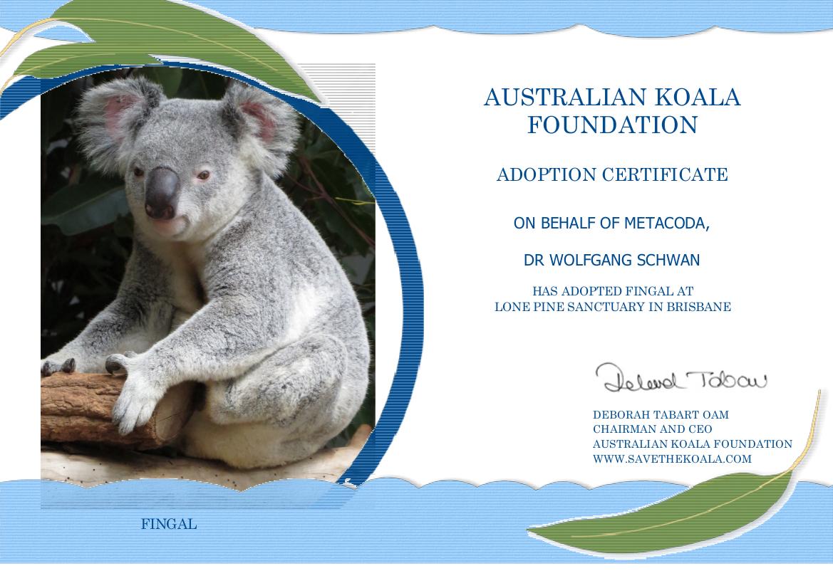 TheAustralianKoalaFoundation-AdoptAKoala-Fingal-Certificate