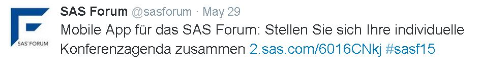 To keep up with the conference activity online, simply follow #sasf15 on Twitter.