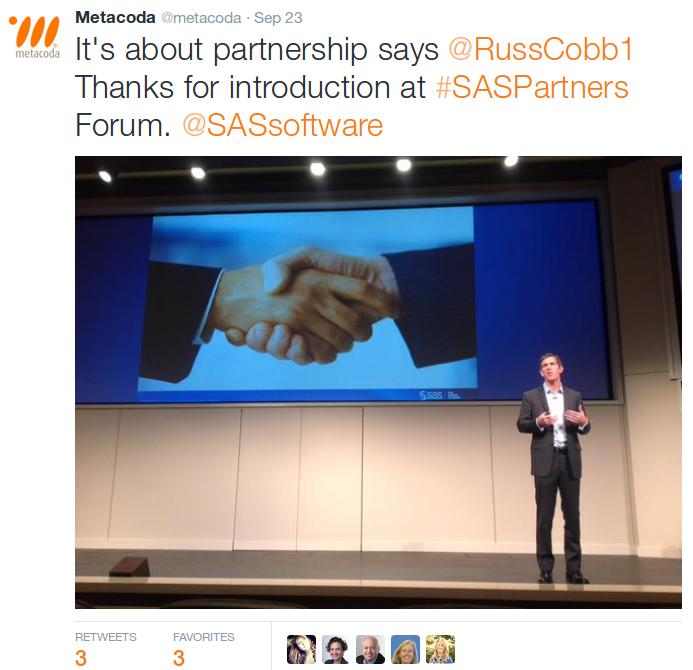 SAS Partners Forum Metacoda Tweet