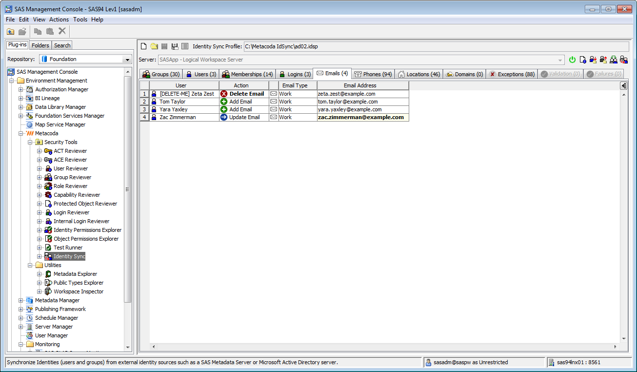 Metacoda Security Plug-ins: Identity Sync (Emails Tab)