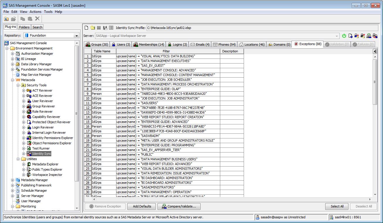 Metacoda Security Plug-ins: Identity Sync (Exceptions Tab)