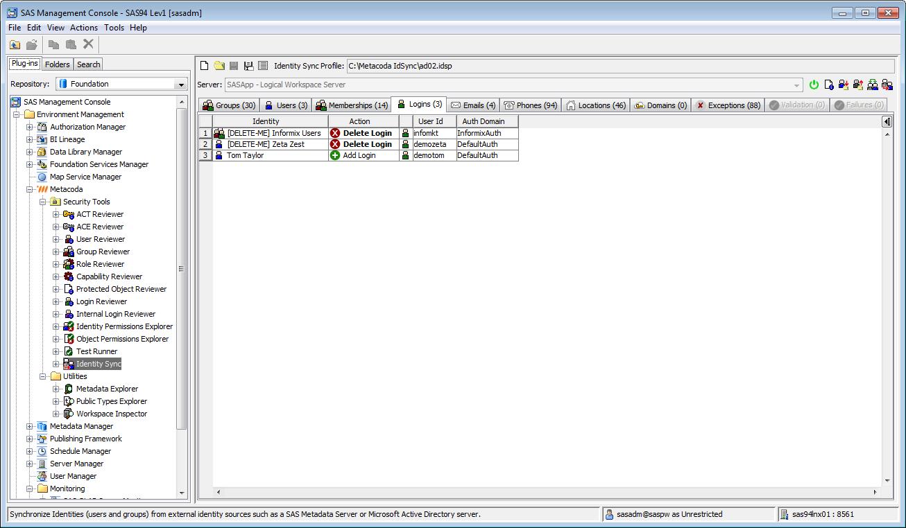 Metacoda Security Plug-ins: Identity Sync (Logins Tab)