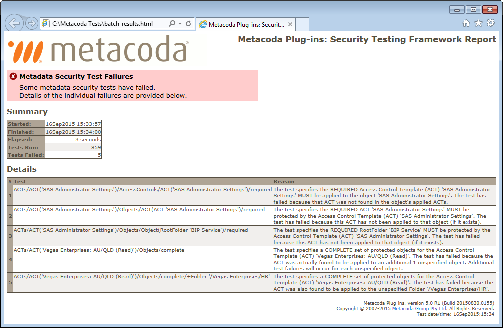 Metacoda Security Plugins: Batch Test Report