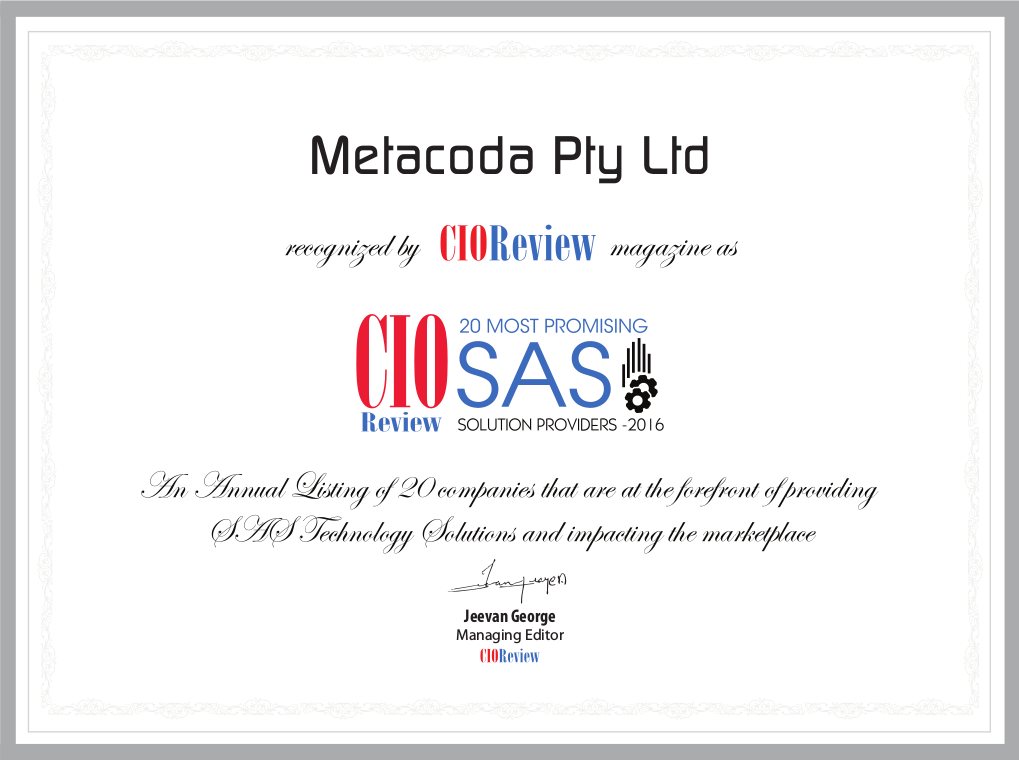 CIO Review's Metacoda certificate