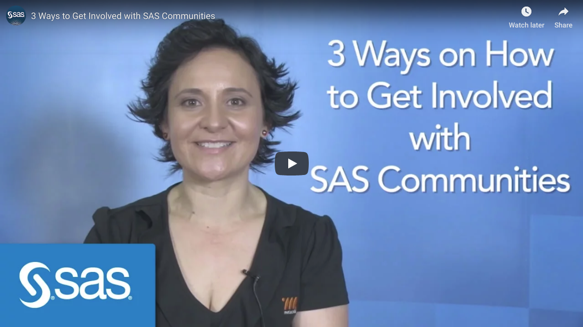 YouTube video - 3 ways to get involved with SAS Communities