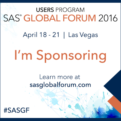 I'm Sponsoring SAS Global Forum 2016
