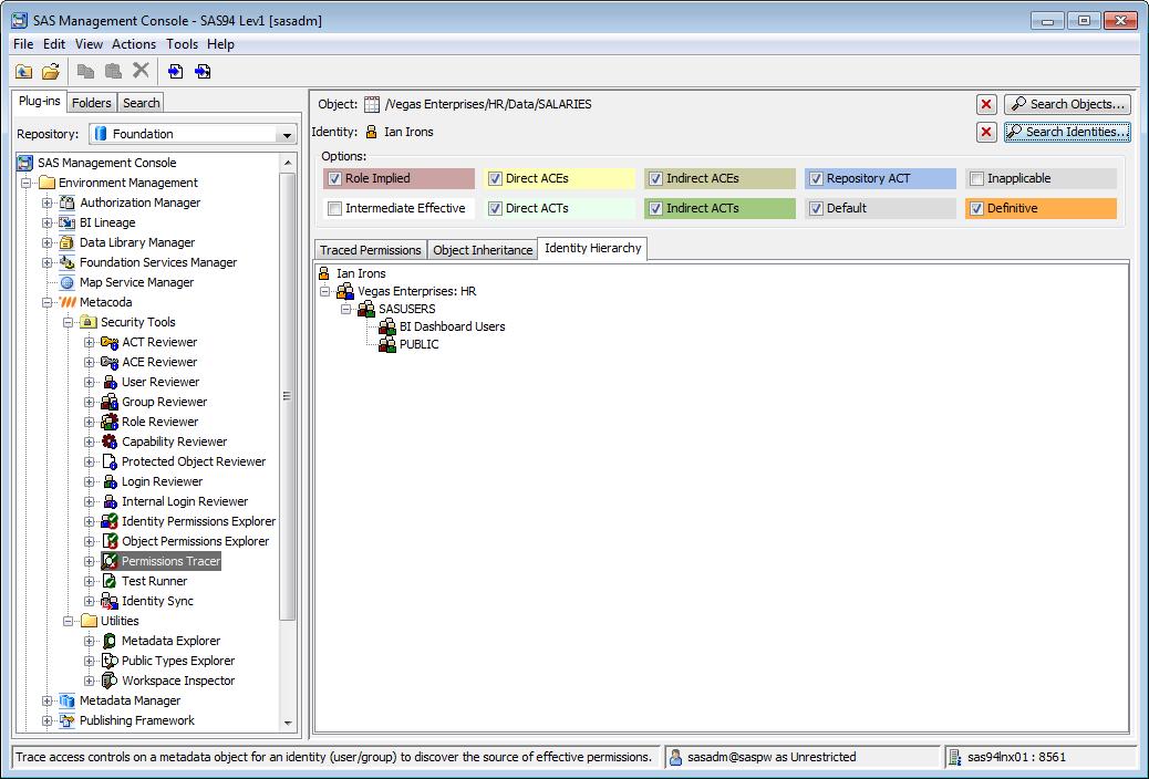 Metacoda Security Plug-ins: Permissions Tracer Plug-in (Identity Hierarchy Tab)