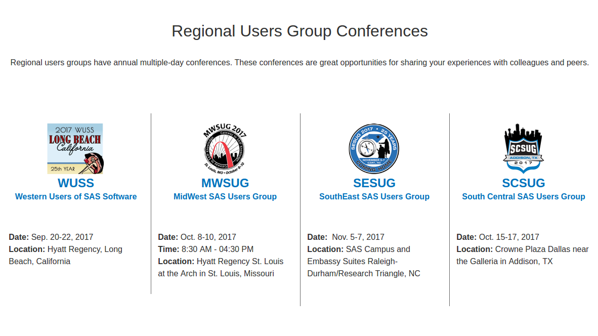 US Regional SAS Users Group Conferences
