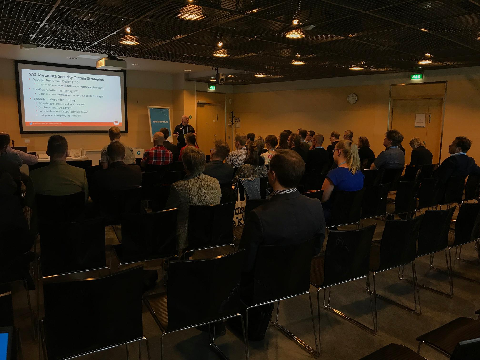 Paul Homes presenting at SAS FANS Espoo