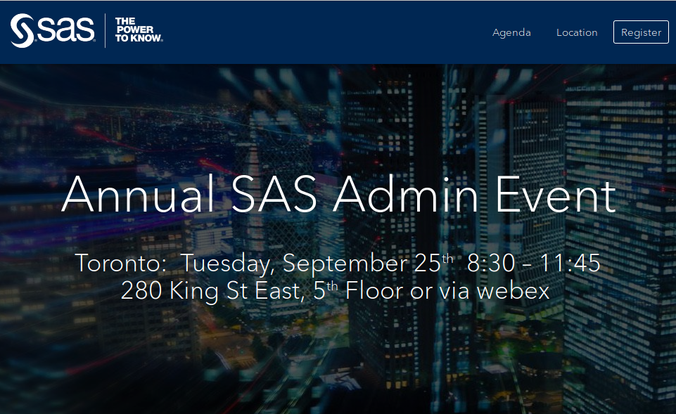 Annual SAS admin event - Toronto