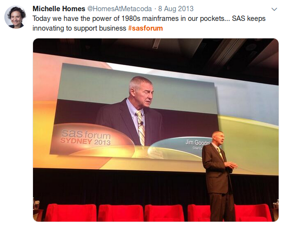 SAS Software CEO, Dr Jim Goodnight, presenting at SAS Forum Australia 2013