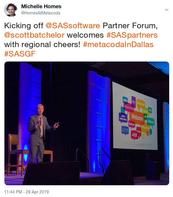SAS Partner Forum welcome at SASGF
