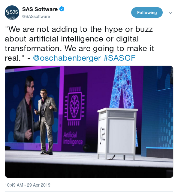 SAS Software SASGF AI Tweet