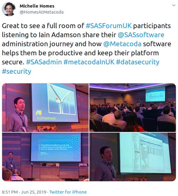 #SASForumUK Iain Adamson presentation tweet