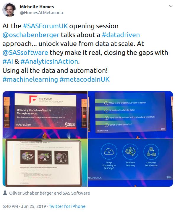 #SASForumUK Oliver Schabenberger keynote tweet