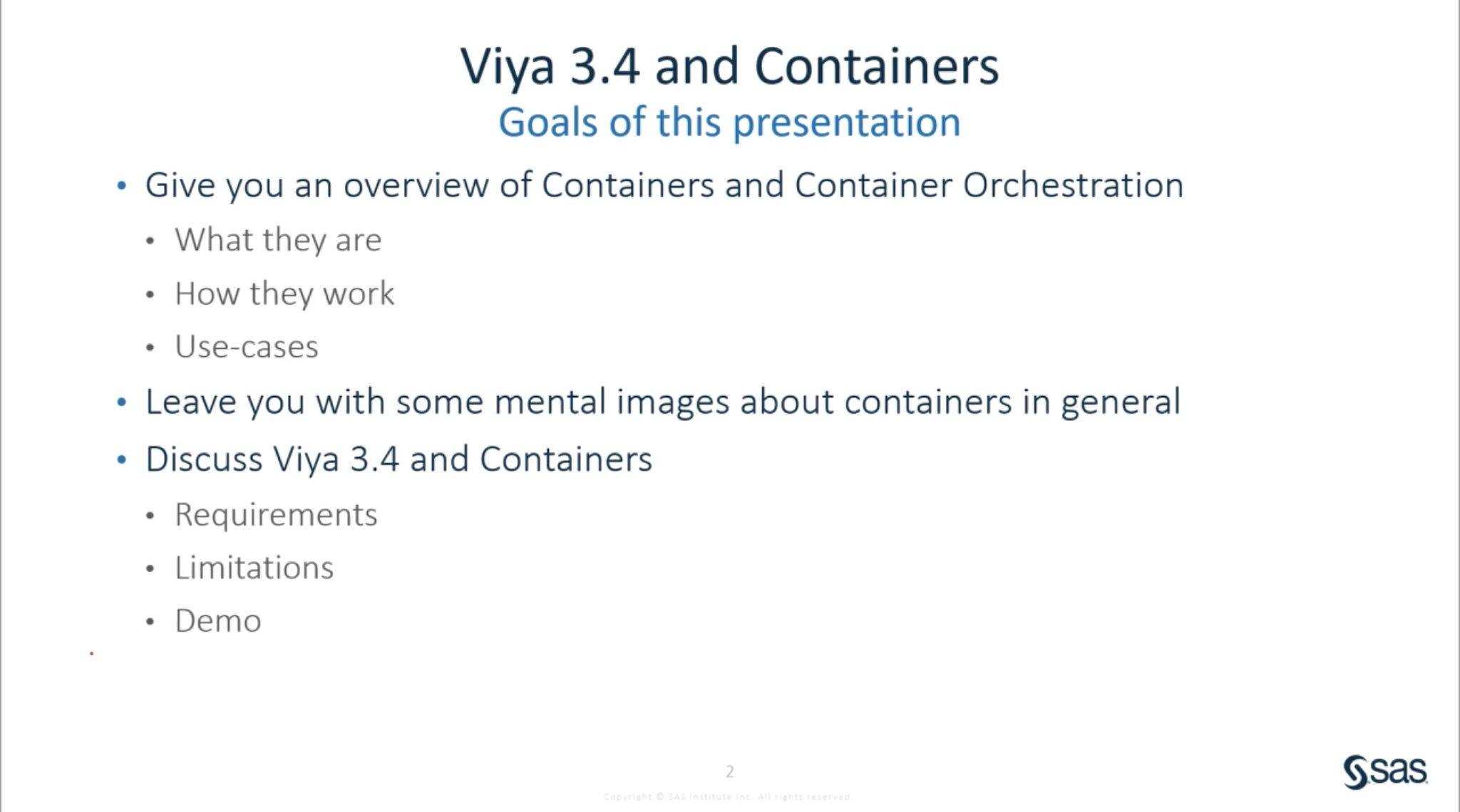 Containers & SAS® Viya®