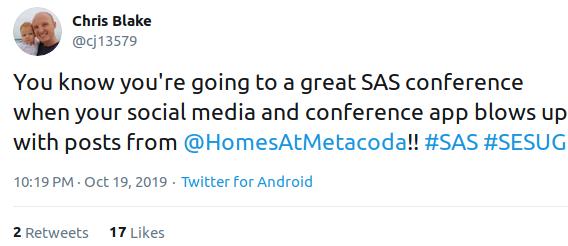 Chris Blake tweet - SESUG 2019 app