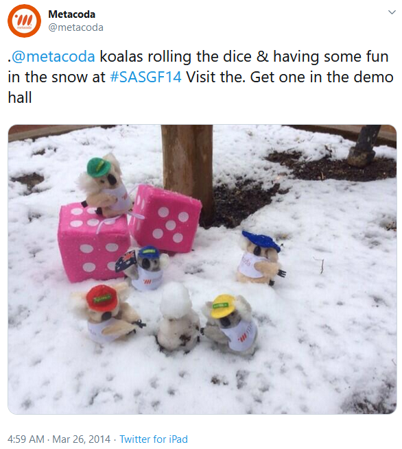Metacoda koalas in the snow at SASGF 2014