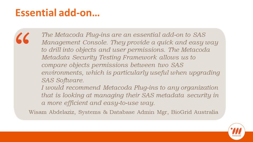 Metacoda testimonial: Essential add-on: Wisam Abdelaziz, BioGrid Australia