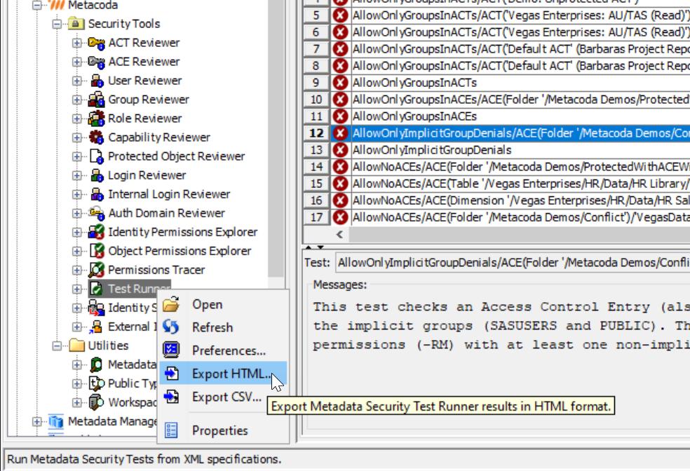 Metacoda Test Runner - export to HTML