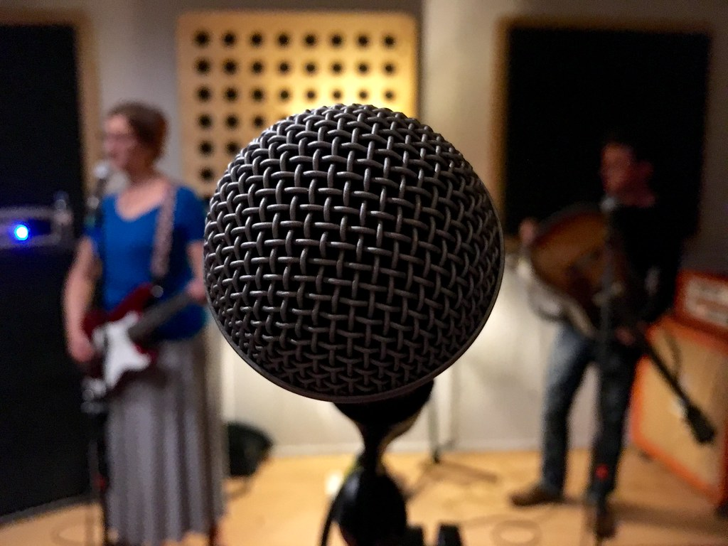 """Microphone check with @SalterCane."" by adactio is licensed under CC BY 2.0"