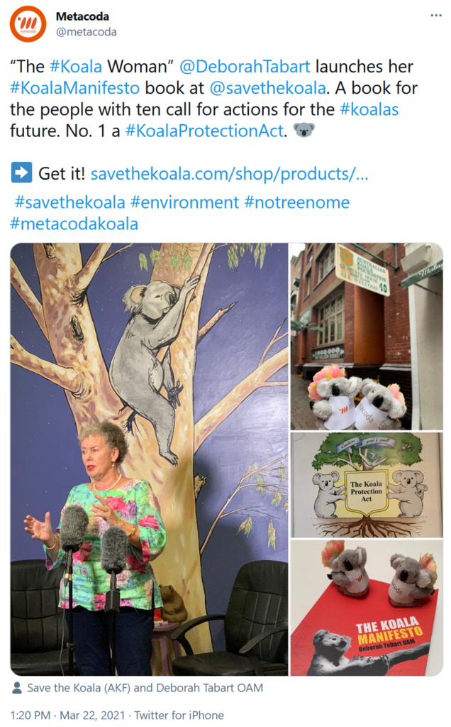 Metacoda tweet koala manifesto launch