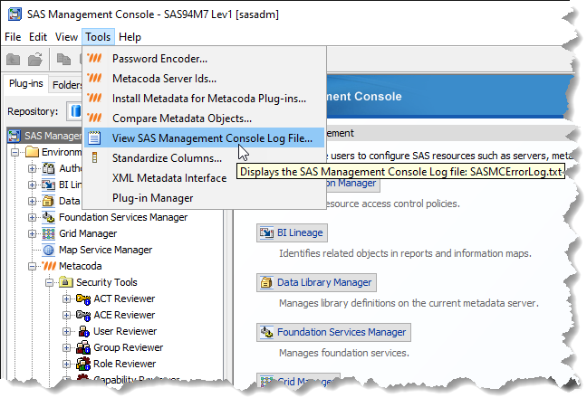 Metacoda Plugins view SAS MC log file